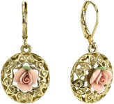 JCPenney 1928 Jewelry Pink Rose Gold-Tone Drop Earrings