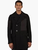 Rick Owens Black Panel-Detailed Wool Peacoat