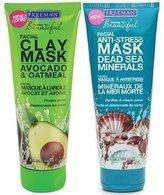 Freeman Facial Mask Variety Bundle, 6 fl oz, Pack of 2, 1 Tube Avocado & Oatmeal Facial Clay Mask and 1 Tube Dead Sea Mi