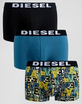 Diesel Trunks In 3 Pack With Print And Logo Waistband In Multi