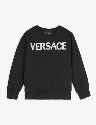 Versace Glitter logo cotton-jersey sweatshirt 4-14 years