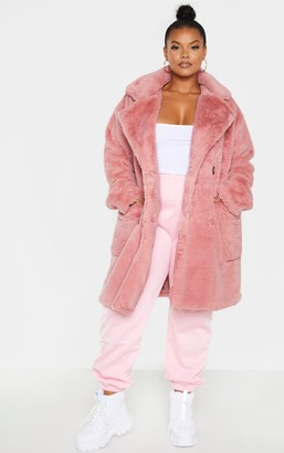 Jandb Plus Rose Faux Fur Double Breasted Coat