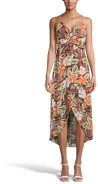 Bar III Floral-Print Twist-Front Midi Dress, Created for Macy's