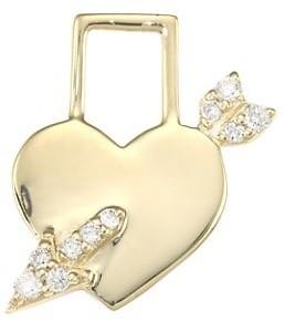 Robinson Pelham EarWish 14K Yellow Gold & Diamond Cupid's Heart Single Earring Charm