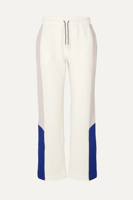 Ninety Percent Net Sustain Color-block Organic Cotton-jersey Track Pants - White