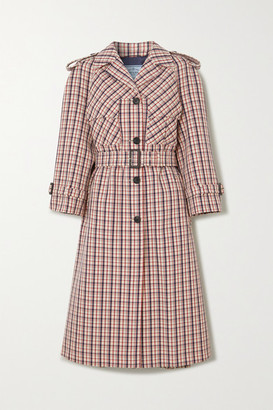 Prada Checked Wool Trench Coat - Red