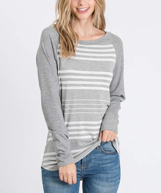 Cool Melon Women's Tee Shirts Heather - Heather Gray & Gray Stripe French Terry Raglan Tee - Plus