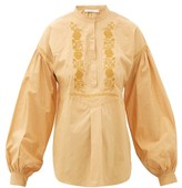 Mes Demoiselles Camille Floral-embroidered Cotton Blouse - Womens - Beige