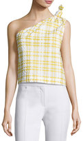 Rosie Assoulin The Top Knot One-Shoulder Top, Yellow Pattern