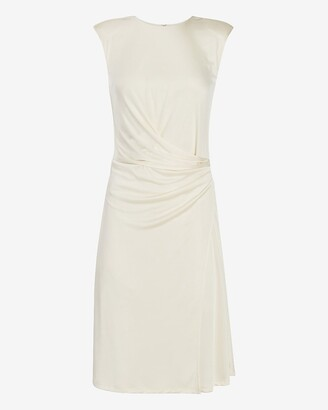 Express Satin Cap Sleeve Ruched Side Dress