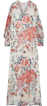 Carolina Herrera Embellished Floral-print Silk-chiffon Gown