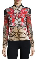 Roberto Cavalli Tie-Neck Colorblock Print Top