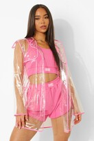 boohoo Daisy Transparent Rain Mac With Bound Seams pale pink