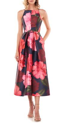 Kay Unger Madeline Floral Mikado Midi Dress