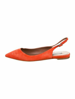 Tabitha Simmons Doris Suede Slingback Flats Orange