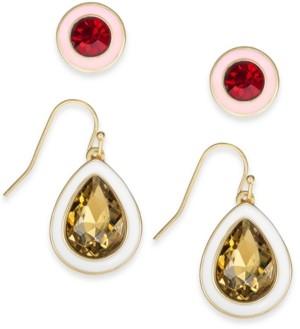 Alfani Gold-Tone 2-Pc. Set Crystal Stud & Drop Earrings, Created for Macy's
