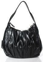 Coccinelle Black Leather Pleated Large Hobo Handbag