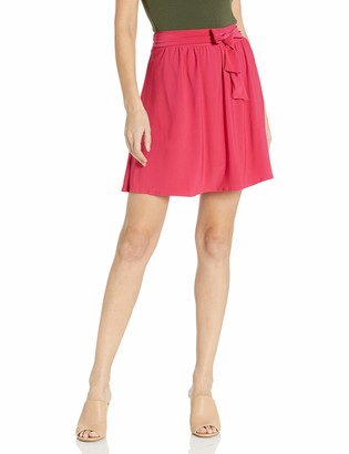 Star Vixen Women's Knee-Length Full Skater Skirt with Self-Tie Bow Belt