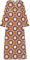 Tory Burch Geo Embellished Printed Cotton-voile Kaftan - Orange
