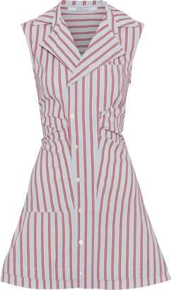 Derek Lam 10 Crosby Gathered Striped Cotton Mini Shirt Dress