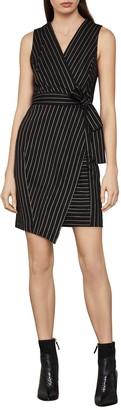 BCBGMAXAZRIA Pinstripe Crossover Dress
