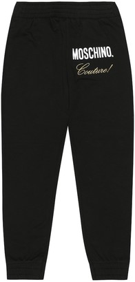 MOSCHINO BAMBINO Printed stretch-cotton trackpants