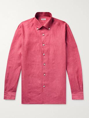 Kiton Button-Down Collar Linen Shirt