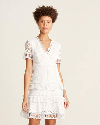 French Connection Arta Lace Short Sleeve Fit & Flare Dress
