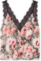 Fleur Du Mal Margo Lace-trimmed Floral-print Silk-crepe Camisole - Baby pink