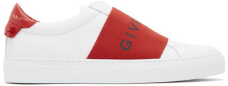 Givenchy White and Red Urban Street Elastic Sneakers