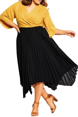 City Chic Simple Pleated Skirt (Plus Size)