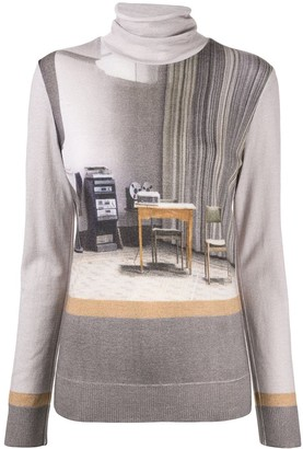 Undercover graphic print mock neck jumper