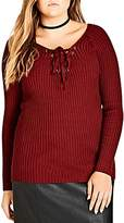City Chic Lace-Up Sweater