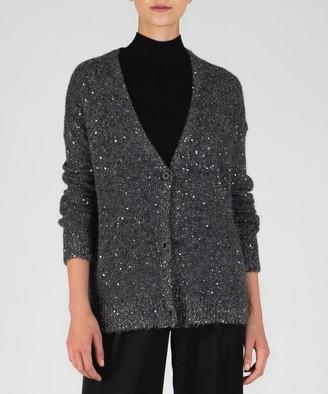 Atm Sequin V-Neck Cardigan - Charcoal/ Silver