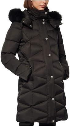 Andrew Marc Diamond-Quilt Fox Fur-Trim Hooded Down Coat