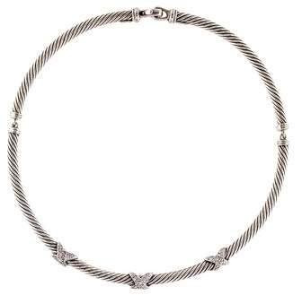 David Yurman Diamond Triple X Collar Necklace