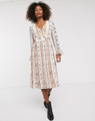 Y.A.S snake print long sleeve smock dress