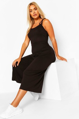 boohoo Plus Tie Shoulder Jersey Jumpsuit