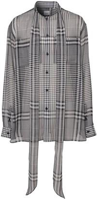 Burberry Runway check tie-neck shirt