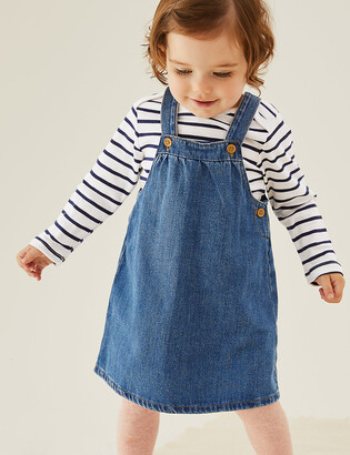 Marks and Spencer 2pc Pure Cotton Denim Pinny Outfit (0-3 Yrs)