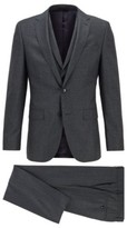 HUGO BOSS - Slim Fit Three Piece Suit In Micro Patterned Wool - Turquoise