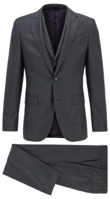 HUGO BOSS Slim Fit Three Piece Suit In Micro Patterned Wool - Turquoise