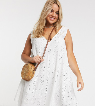 Asos DESIGN Curve broderie swing mini sundress in white