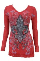 Vocal Women Tunic Shirt Lace Bottom Long Slvs Crystal Fleur Floral Tribal Vneck