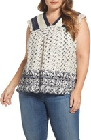 Lucky Brand Plus Size Women's Embroidered Print Flutter Top