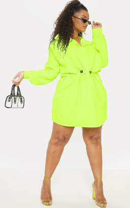 PrettyLittleThing Plus Neon Lime Toggle Waist Shift Dress
