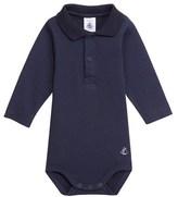 Petit Bateau Baby boy brushed cotton polo shirt bodysuit