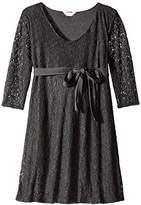 Three Seasons Maternity Women's Lace 3/4 Sleeve V-Neck Dress