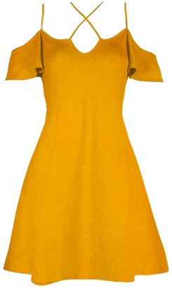 Be Jealous Womens Cold Shoulder Strappy Flared Swing Dress Mustard S/M (UK 8/10)
