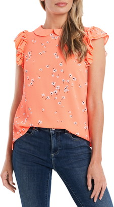CeCe Ditsy Floral Peter Pan Collar Blouse